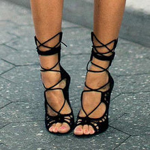 Load image into Gallery viewer, Designer Lace Cut Out Open Toe Gladiator Party High Heels-Shoes-Look Love Lust