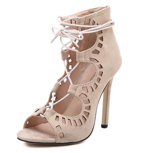 Designer Lace Cut Out Open Toe Gladiator Party High Heels-Shoes-Look Love Lust