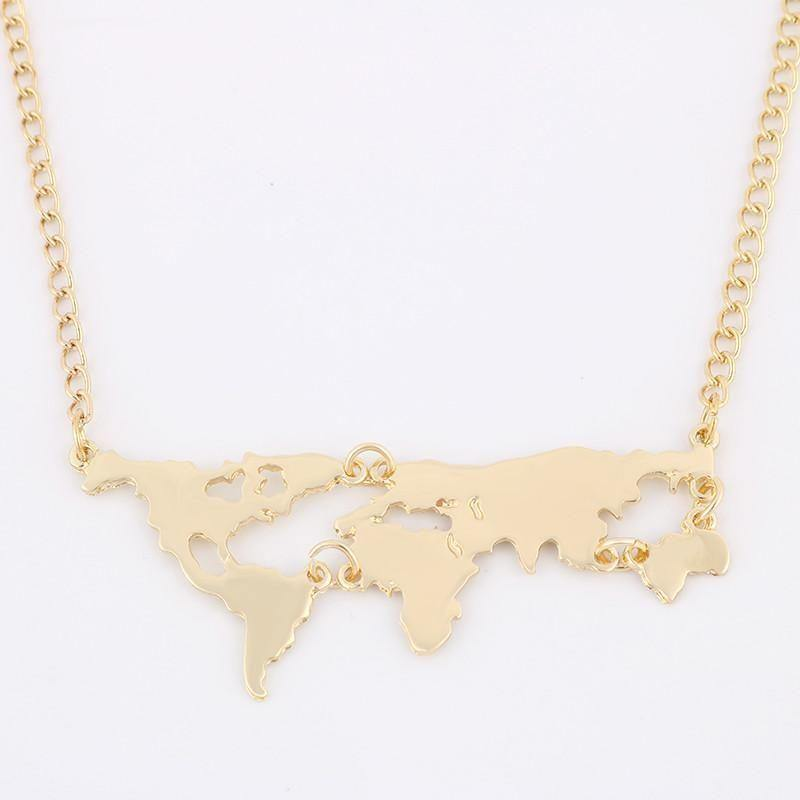 Gold Plated World Map Pendant Necklace-Necklaces-Look Love Lust