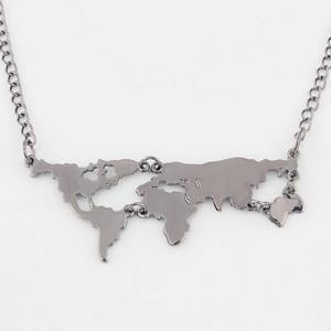 Gold Plated World Map Pendant Necklace - Necklaces -  Look Love Lust