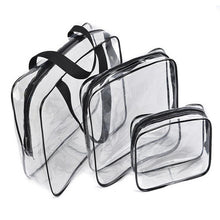 Load image into Gallery viewer, 3pc Travel Essential Transparent Waterproof Toiletry Storage Bag Makeup Cosmetic Bags PVC Pouch-Makeup Tools-Look Love Lust