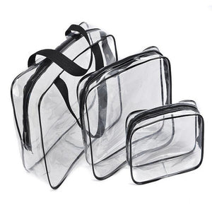 3pc Travel Essential Transparent Waterproof Toiletry Storage Bag Makeup Cosmetic Bags PVC Pouch-Makeup Tools-Look Love Lust