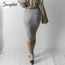 Load image into Gallery viewer, High Waisted Grey Knit Pencil Skirt-Skirts-Look Love Lust
