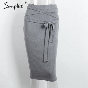 High Waisted Grey Knit Pencil Skirt-Skirts-Look Love Lust