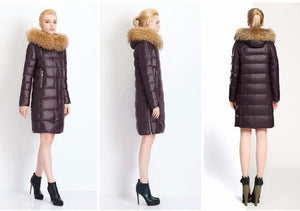 Full Length Puffy Parka Jacket with Natural Fur Collar-Outerwear-Look Love Lust