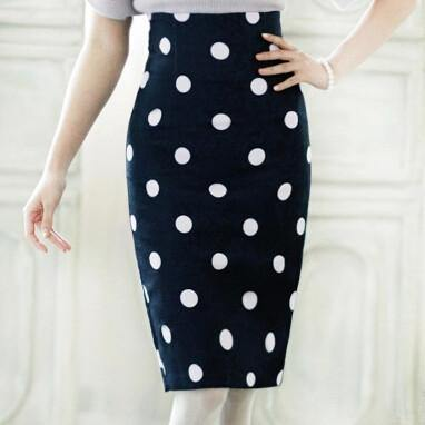 Slim Fitted Knee Length Polka Dot Pencil Skirt-Skirts-Look Love Lust