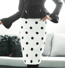 Load image into Gallery viewer, Slim Fitted Knee Length Polka Dot Pencil Skirt-Skirts-Look Love Lust