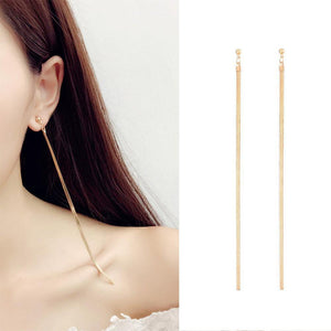 Elegant Simple Fashion Long Metal Chain Tassel Pendant Earrings-Earrings-Look Love Lust