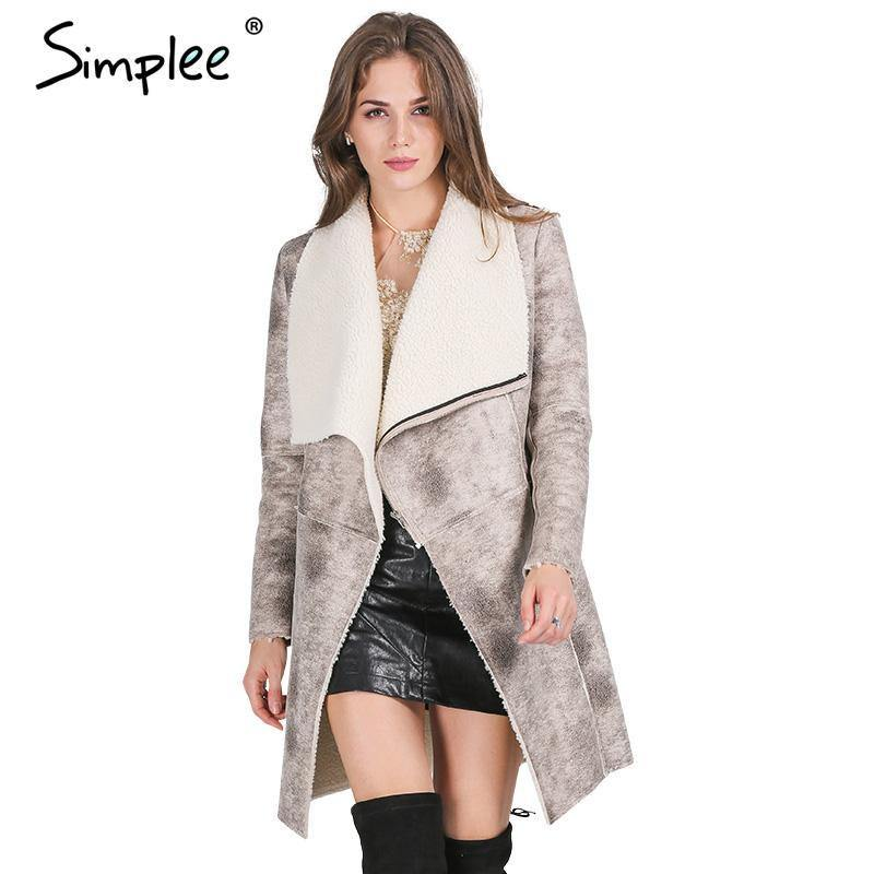 Suede Lambswool Coat-Jackets-Look Love Lust