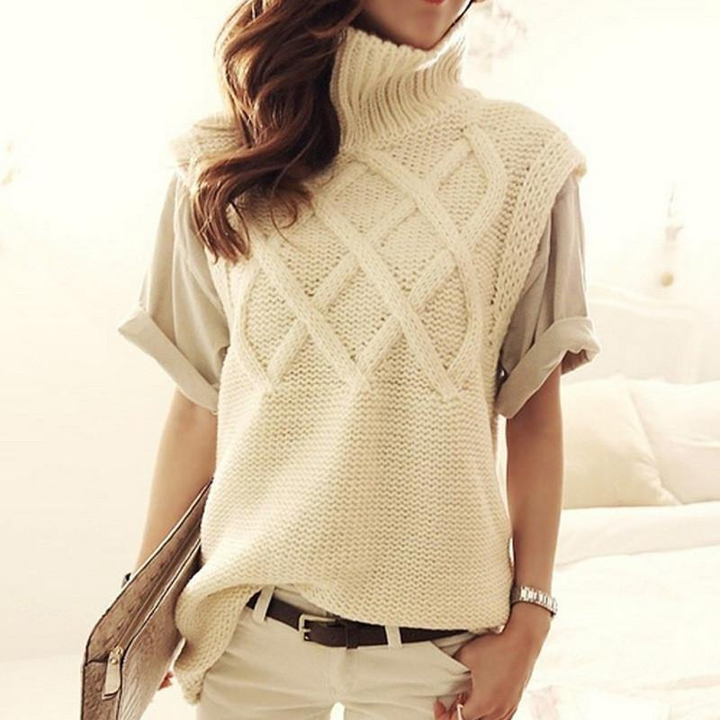 Sleeveless Cable Knit Turtleneck Vest-Outerwear-Look Love Lust