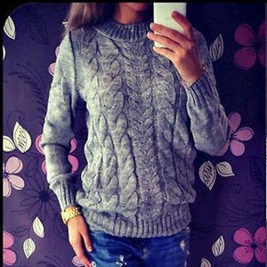 Long Sleeve Loose Cable Knit Sweater -  - Sweaters, www.looklovelust.com - 4