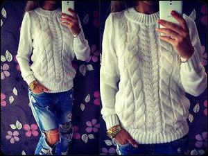 Long Sleeve Loose Cable Knit Sweater -  - Sweaters, www.looklovelust.com - 6