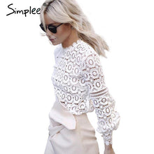 Load image into Gallery viewer, Elegant Floral Lace Lantern Blouse-Tops-Look Love Lust