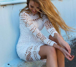 Hollow Out Long Sleeve Lace Dress-Casual Dresses-Look Love Lust
