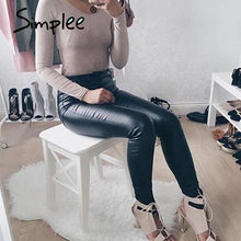 Load image into Gallery viewer, Slim High Waisted Leather Pants-Jeans-Look Love Lust