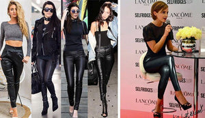 Slim High Waisted Leather Pants-Jeans-Look Love Lust