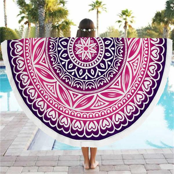 Multicolor Mandala Round Shawl 150cm-Beach Towels-Look Love Lust