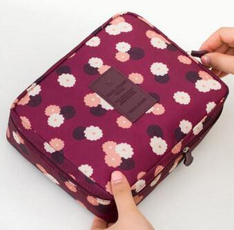 Multifunction Cosmetic Makeup Toiletry Travel Bags - wine red flower / China - Makeup Tools, www.looklovelust.com - 1