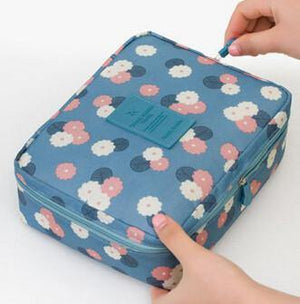 Multifunction Cosmetic Makeup Toiletry Travel Bags - blue flower / China - Makeup Tools, www.looklovelust.com - 8