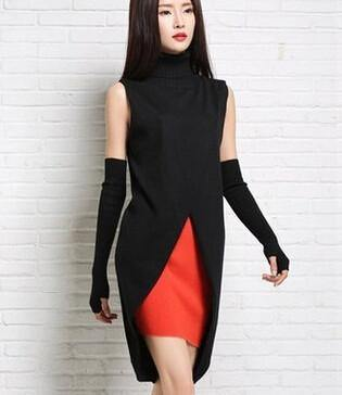 Long Pullover Fork Split Turtleneck Sleeveless Sweater Vest-Sweaters-Look Love Lust