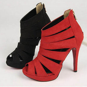 Gladiator Cut Out Peep Toe Pumps-Shoes-Look Love Lust