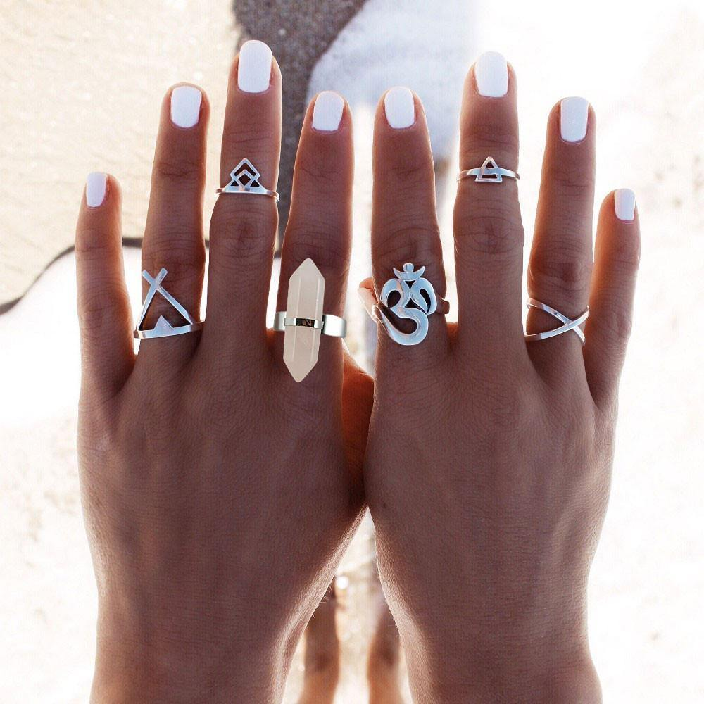 6 Pc Vintage Silver Plated/Natural Quartz Ring Set-Jewelry-Look Love Lust