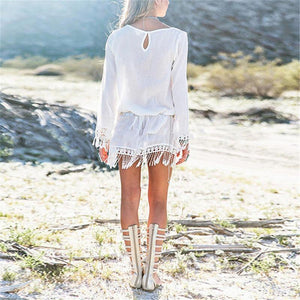 Bohemian Round Neck Lace Tassel Chiffon Beach Mini Dresses-BeachWear-Look Love Lust