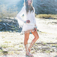 Load image into Gallery viewer, Bohemian Round Neck Lace Tassel Chiffon Beach Mini Dresses-BeachWear-Look Love Lust