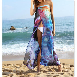 Sheer Floral Print Split Strapless Bikini/Swimsuit Cover Up Sarong-BeachWear-Look Love Lust