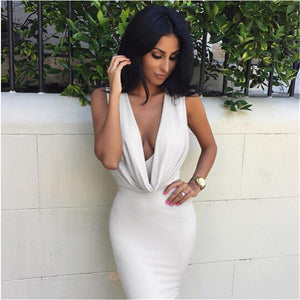 Sleeveless Deep V Knee Length Bandage Dress-Casual Dresses-Look Love Lust