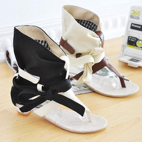Roman Gladiator T-Strap Flat Sandals-Shoes-Look Love Lust