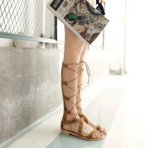 Fretwork Women Gladiator Flat Sandals-Shoes-Look Love Lust