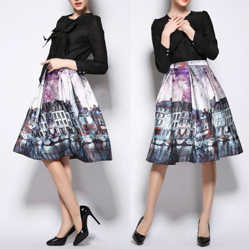 Vintage CityScape Painting High Waist Knee-Length Skirt-Skirts-Look Love Lust