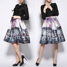 Load image into Gallery viewer, Vintage CityScape Painting High Waist Knee-Length Skirt-Skirts-Look Love Lust