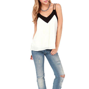 Loose Chiffon V-Neck Tank-Tank Top-Look Love Lust