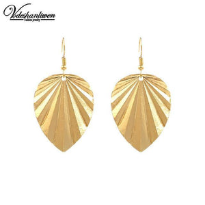 Leaf Drop Earrings-Look Love Lust