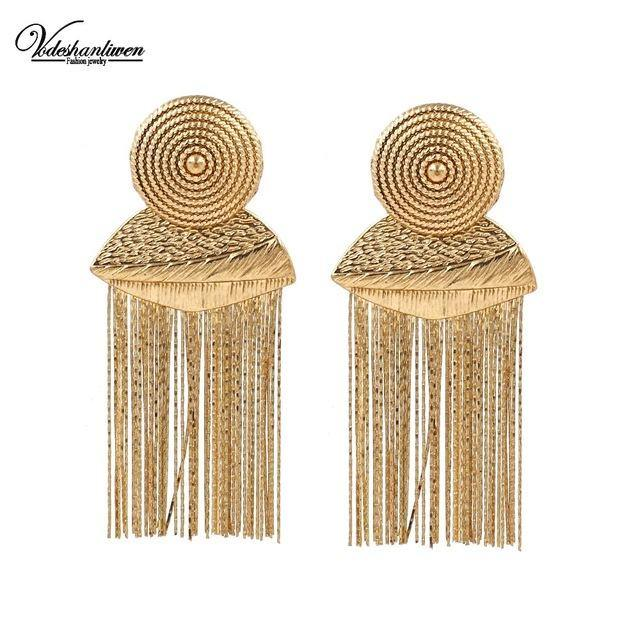 Gold Metal Tassel Earrings-Look Love Lust