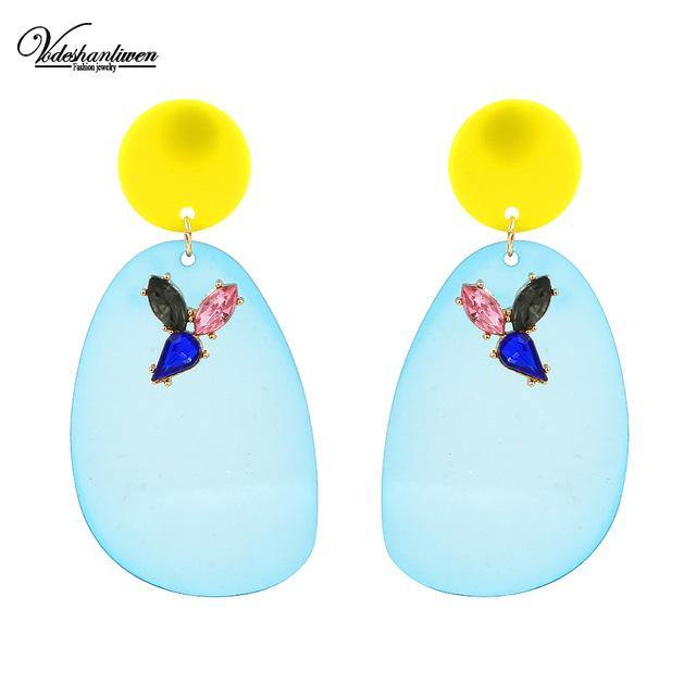 Candy Color Transparent Acrylic Dangle Earrings-Look Love Lust