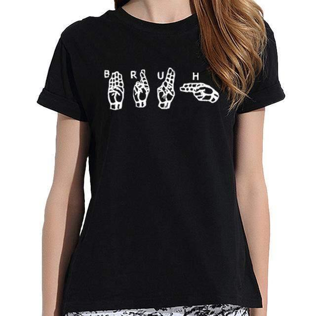 Hand Sign Print Blouse-Blouses-Look Love Lust