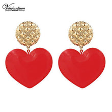 Load image into Gallery viewer, Heart Statement Drop Earrings-Look Love Lust