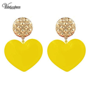 Heart Statement Drop Earrings-Look Love Lust