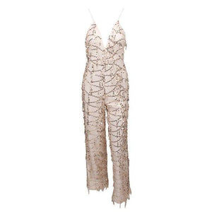 Sequined Tassel Jumpsuit-Jumpsuits-Look Love Lust