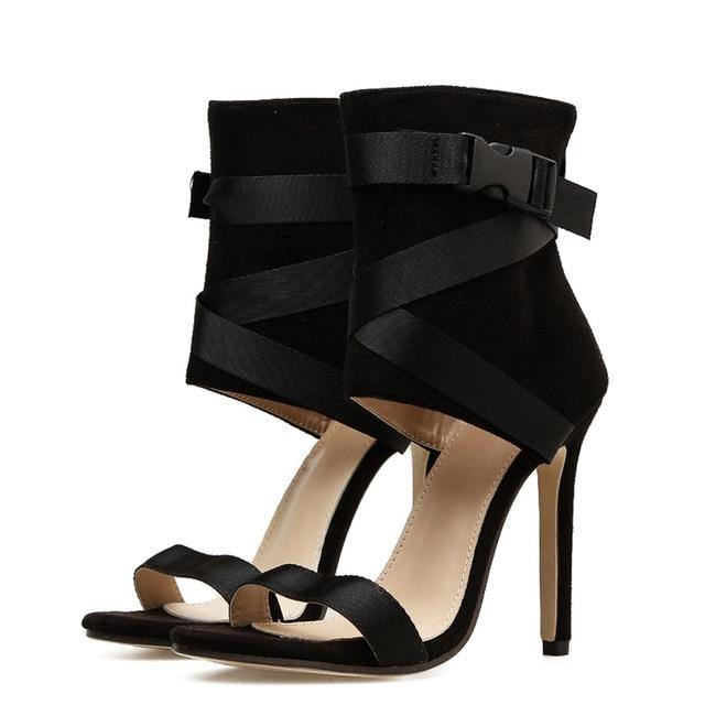 Bella Gladiator Peep Toe High Heels-High Heels-Look Love Lust