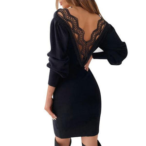 Backless Lace Knitted Mini Bodycon Dress-Dresses-Look Love Lust