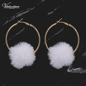 Cotton Ball Hoop Earrings-Look Love Lust