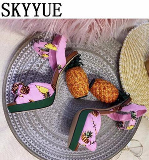 Pineapple Design Platform Shoes-High Heels-Look Love Lust