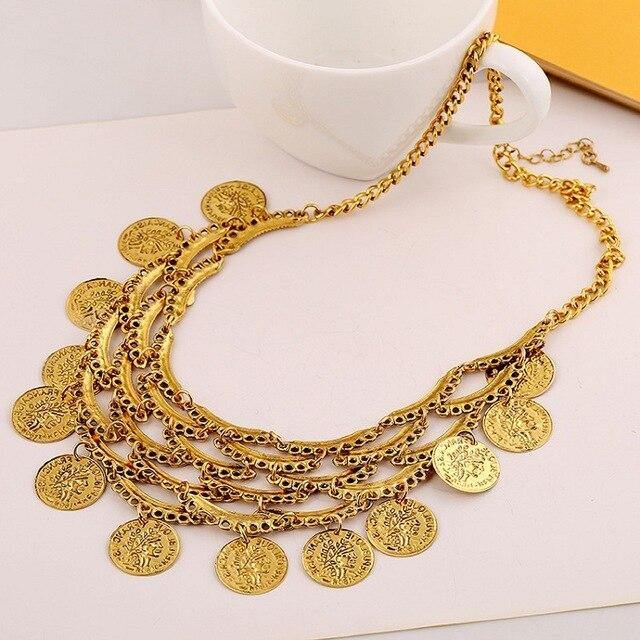 Vintage Maxi Coin Tassel Necklace Geometric Splice Hollow Multilayer Necklace-Chain Necklaces-Look Love Lust