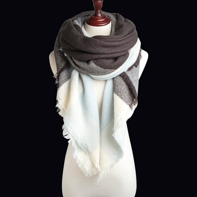 Warm Colorful Plaid Pashmina Scarves-Scarves-Look Love Lust