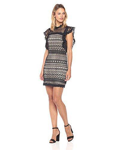 Women's Ruffle Sleeve Lace Shift Dress-Dresses-Look Love Lust
