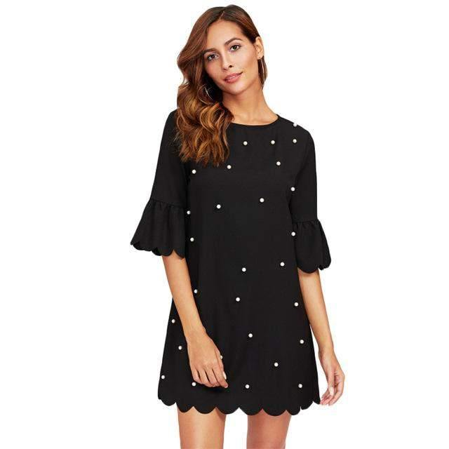 Pearl Studded Scalloped Dress-Dresses-Look Love Lust
